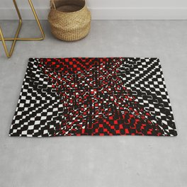 black white red 3 Rug