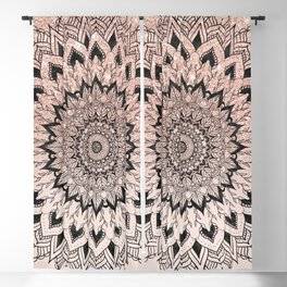 Boho black watercolor floral mandala rose gold glitter ombre pastel blush pink Blackout Curtain