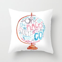 Oh The Places You'll Go - Vintage Globe Typography Pink Blue Grey Throw Pillow