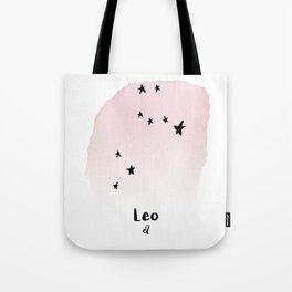 Leo Star sign, Constellation, Astrology, Horoscope, Zodiac Pink Watercolor Tote Bag