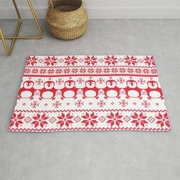 Red Scandinavian Penguin Holiday Design Rug