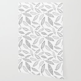 Feather Leaves in Black White Wallpaper