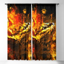 serval cat splatter watercolor Blackout Curtain