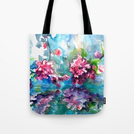 CHERRY TREE MIRRORING IN THE WATER - WATERCOLOR Tote Bag