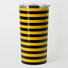 Amber Orange and Black Horizontal Stripes Travel Mug