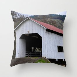 The Red Roof Covered Bridge Throw Pillow