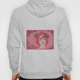 Pink Flower Girl Digital Drawing Hoody