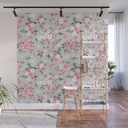 Cute floral pattern. Pink and white flowers. Wall Mural