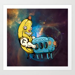 Big Yellow Banana Hugging Goat-Bus Art Print