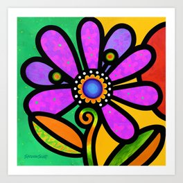 Cosmic Daisy in Pink Art Print