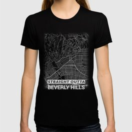 Straight Outta Beverly Hills Los Angeles LA California City Map Tee T-shirt