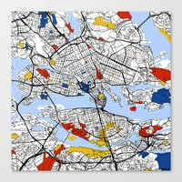 stockholm Canvas Prints featuring Stockholm by Mondrian Maps