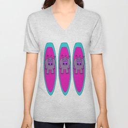 Three Hippos Surfing Unisex V-Neck