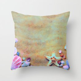 Summer Sand & Shells Expressionist Painting Throw Pillow
