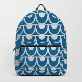 Mid Century Modern Abstract Fish Scale Pattern in Ocean Blue and Silver Backpack