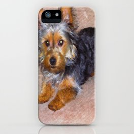 Silky Terrier Puppy - rendered as watercolor iPhone Case
