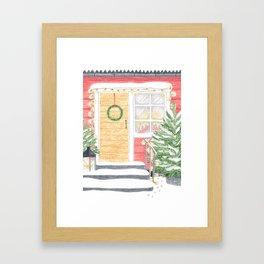 Red House Christmas Framed Art Print