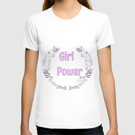 Girl power pink illutration T-shirt