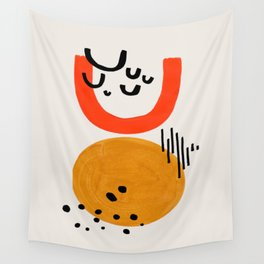 Upside Down Sun Yellow Orange Retro Mid Century Funky Fun Shapes Pattern by Ejaaz Haniff Wall Tapestry