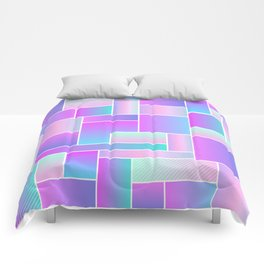 Abstract Holographic Pastel Pattern Comforters