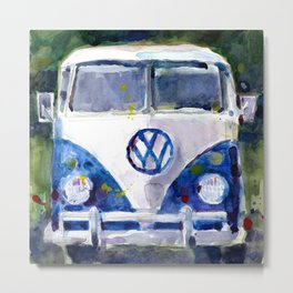 Car Van Watercolor Original Art Metal Print