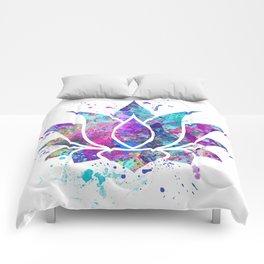 Lotus Flower Watercolor Print Wall Art Wedding Gift Zen decor Comforters