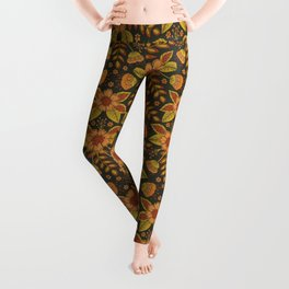 Orange, Peach, Olive Green & Dark Gray Floral Pattern Leggings