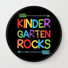 Colorful Kindergarten Rocks Education Kids Teacher Wall Clock