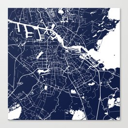 Amsterdam Navy Blue on White Street Map Canvas Print