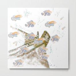 spiky orange fish Metal Print