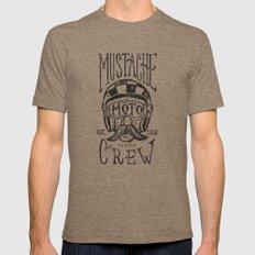 Mustache Moto Crew Tri-Coffee Mens Fitted Tee MEDIUM