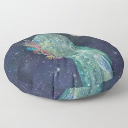 Whale with flowers Floor Pillow