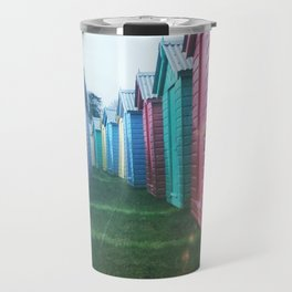 Beach Huts 02C - Retro Travel Mug