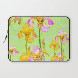 Contemporary Vibrant, Yellow-Purple Iris Pattern Art Laptop Sleeve
