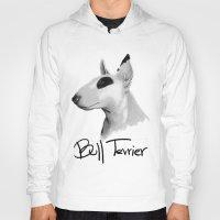 terrier Hoodies featuring Bull Terrier by Det Tidkun