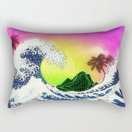 Ocean waves and palm trees and neon mountain Rectangular Pillow