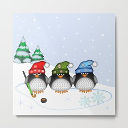 Cute Hockey Penguins in Snowy Winter landscape Metal Print