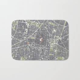 Mexico city map engraving Bath Mat