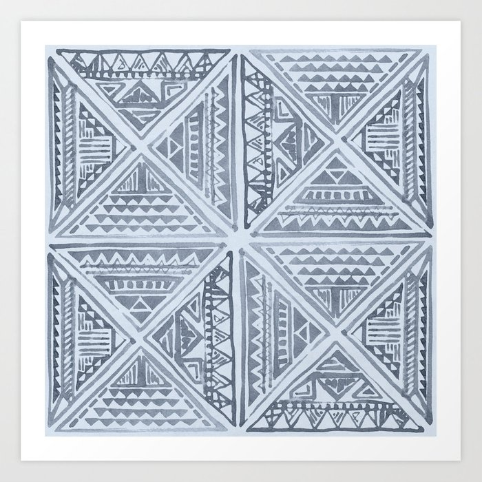 Simply Tribal Tile in Indigo Blue on Sky Blue Art Print
