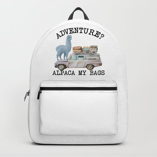 Adventure? Alpaca my bags. Funny Watercolor Traveler Gift by lilyshappythings