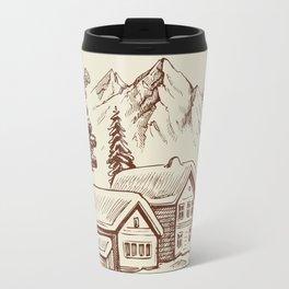Wood Cabin in Winter Landscape Travel Mug