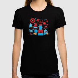 pattern with sea icons on white background. Seamless pattern. Red and blue T-shirt