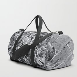 succulent plant with brick floor background in black and white Duffle Bag