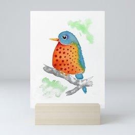 Polka Dot Bluebird Mini Art Print