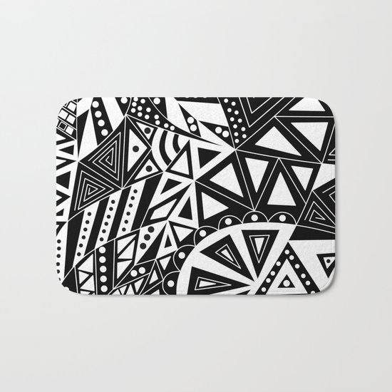 Black and white abstract pattern. 1 Bath Mat