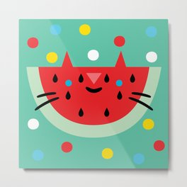 Watermelon Cat Metal Print