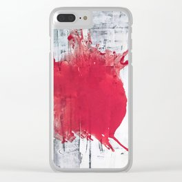 Vast: a bold, minimal abstract piece in pink, gray, and white Clear iPhone Case