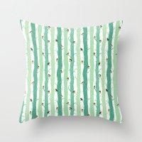 robin Throw Pillows featuring Robin by Karina R