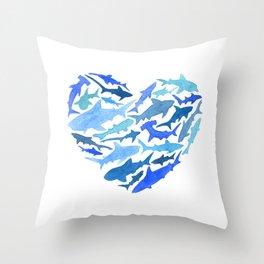 Shark Heart Throw Pillow