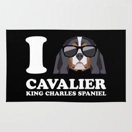I Love Cavalier King Charles Spaniel modern v2 Rug